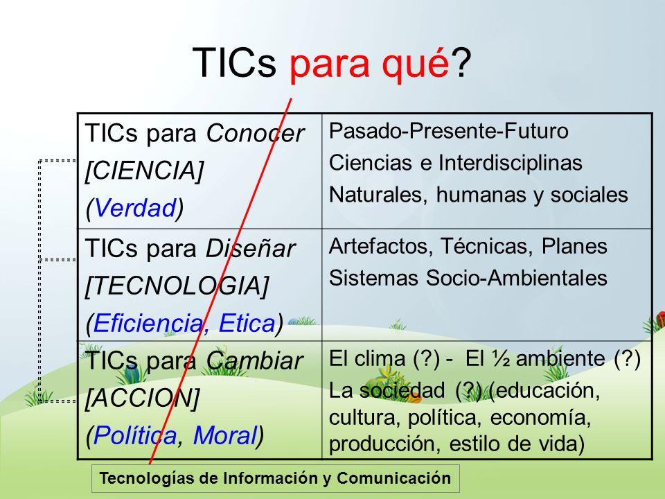 TICs para qué TICs para Conocer [CIENCIA] (Verdad) TICs para Diseñar